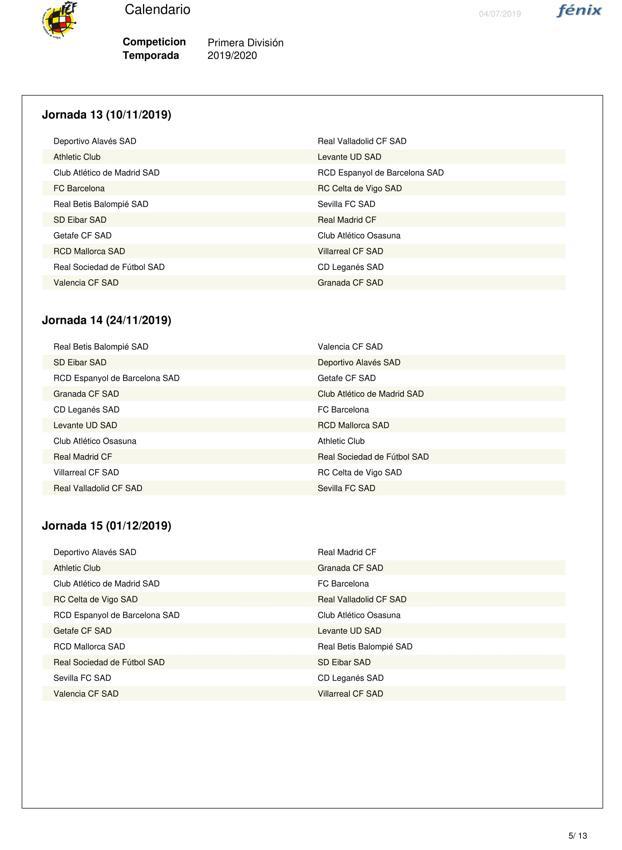 Calendario Futbol Primera Division.Calendario Completo Del Granada En Primera Consulta Las 38 Jornadas