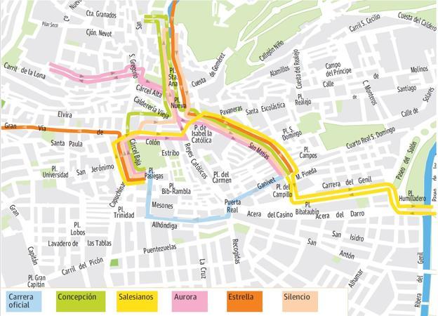mapa de itenerarios Guía del Jueves Santo en Granada: mapa de itinerarios, recorridos  mapa de itenerarios