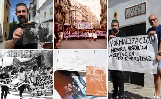 Imágenes que recuerdan la evolución del activismo LGTBIQ+ en Granada. En la imagen de la derecha Juan Pedro y Alberto con una camparta que señala los nuevos retos frente a la sacristía de San Ildefonso./ARCHIVO IDEAL / V.S.C.