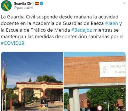 Comunicado de la Guardia Civil, en su cuenta de Twitter. /Ideal