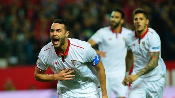 Iborra celebra el gol anotado al Athletic. /