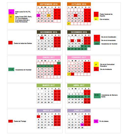 Calendario Escolar Huelva.Calendario Escolar 2016 2017 En Granada Fiestas Puentes Y