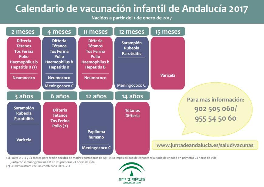 Calendario Vacunal Andalucia 2019.Calendario De Vacunas 2017 En Andalucia Todos Los Cambios Y
