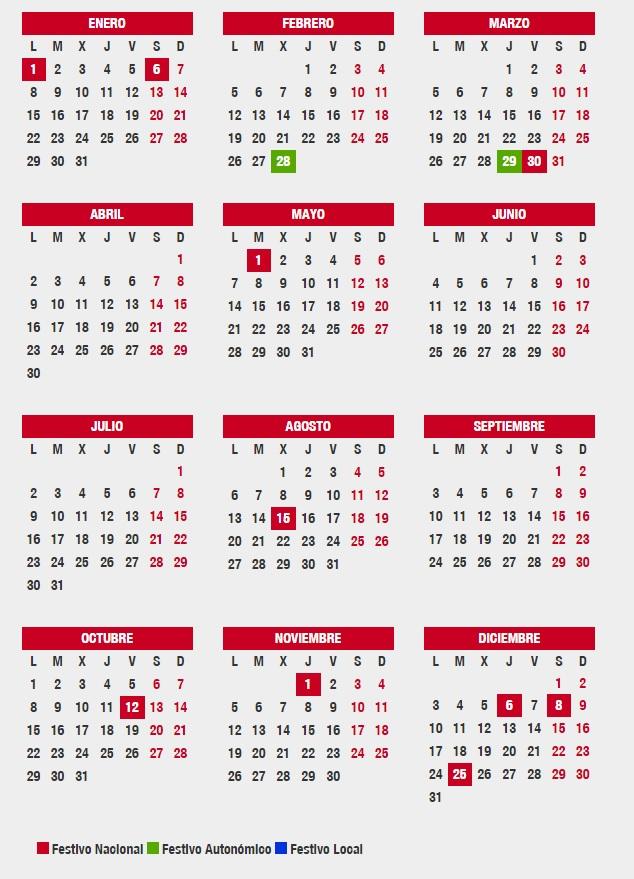 Este es el calendario laboral en andaluc a para 2018 for Calendario eventos madrid
